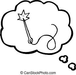 pensamento, cosendo, caricatura