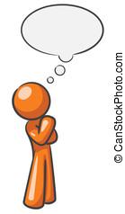 pensamento, desenho, bolha, mascote
