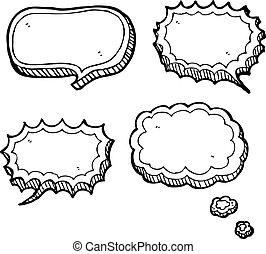 pensamento, fala, bolhas, nuvens, caricatura