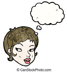 pensamento, menina, bolha, bonito