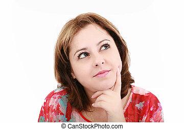 pensamento mulher, jovem, isolado, experiência., closeup,...