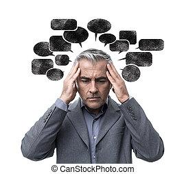 pensamento negativa, e, tensão