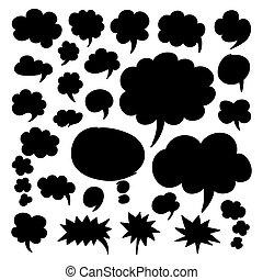 pensamento, nuvens, bolhas, fala