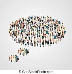 pensamento, pessoas., feito, bolha