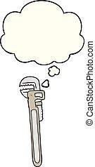 pensamiento, ajustable, burbuja, llave inglesa, caricatura