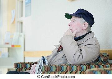 pensamiento, anciano, profundo, hombre