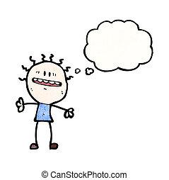 pensamiento, ansioso, energía, burbuja, hombre