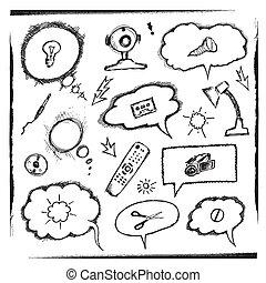 pensamiento, burbujas, objetos