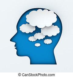 pensamiento, cabeza, burbujas, humano, copyspace