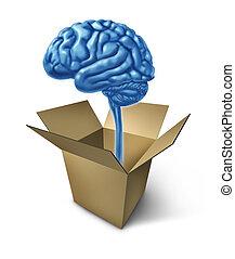 pensamiento, caja, afuera