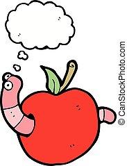 pensamiento, caricatura, burbuja, manzana, gusano