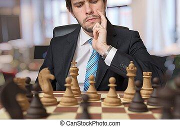 pensamiento, chess., hombre, joven, juego