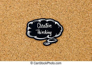 pensamiento creativo, escrito, en, negro, pensamiento, burbuja