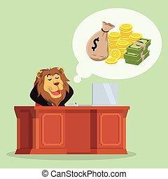 pensamiento, dinero, león, sobre, empresa / negocio