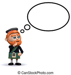 pensamiento, escocés, burbuja, 3d
