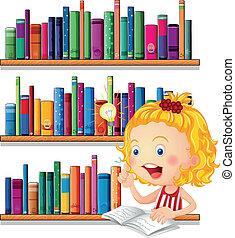 pensamiento, estudiar, niña, mientras