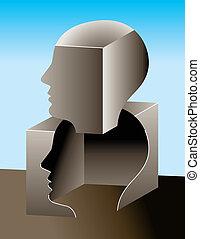 pensamiento, exterior, de, caja