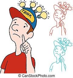 pensamiento, gorra