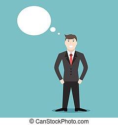 pensamiento, hombre de negocios, o, soñar
