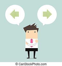pensamiento, hombre, empresa / negocio, opción