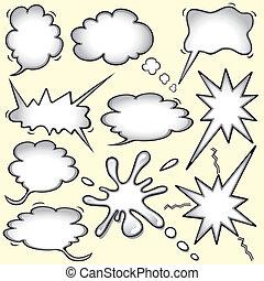 pensamiento, inspirado, libro cómico, burbujas