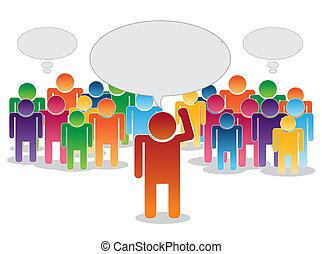 pensamiento, líder, multitud
