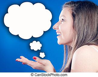 pensamiento, muchos, mujer, ideas