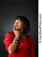 pensamiento, mujer africana