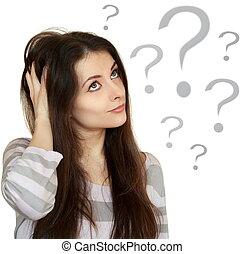 pensamiento, mujer de negocios, con, signo de interrogación, cabeza, aislado, blanco, plano de fondo