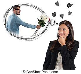 pensamiento, mujer de negocios, sobre, novio