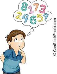 pensamiento, niño, números, niño