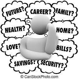 pensamiento, persona, pensamiento, nubes, énfasis, factores