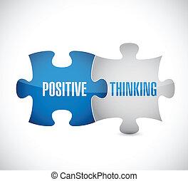 pensamiento, positivo, rompecabezas, ilustración, pedazos