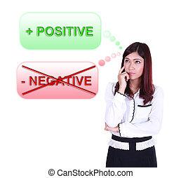 pensamiento, positivo, sobre, corporación mercantil de mujer