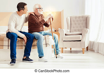 pensamiento, serio, pensionista, futuro, sobre