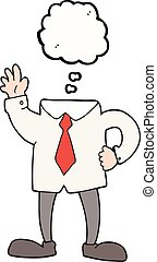 pensamiento, sin cabeza, burbuja, caricatura, hombre de negocios