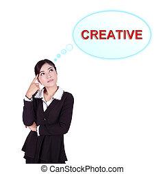 pensamiento, sobre, mujer, empresa / negocio, creativo