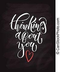 pensamiento, sobre, usted, cartel, tipografía, letras