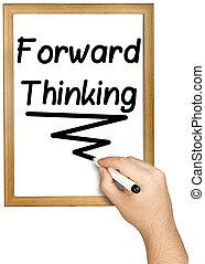 pensamiento, whiteboard, escritura, delantero, negro, marcador, mano