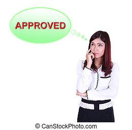 pensando, aproximadamente, mulher, aprovado, negócio