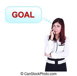 pensando, aproximadamente, mulher, meta, negócio
