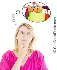 pensando, aproximadamente, shopping mulher