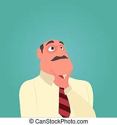pensando, bigode, homem negócio