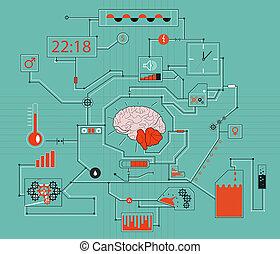 pensando, cérebro, processo, conceito,  human