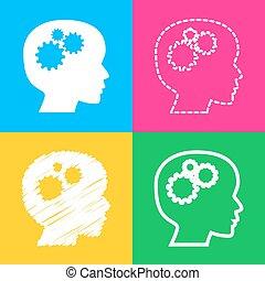 pensando, cabeça, sinal., quatro, estilos, de, ícone, ligado, quatro, cor, squares.