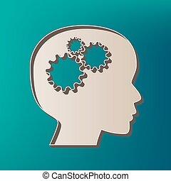 pensando, cabeça, sinal., vector., ícone, impresso, em, 3d, ligado, mar, cor, experiência.