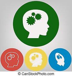 pensando, cabeça, sinal., vector., 4, branca, estilos, de, ícone, em, 4, colorido, círculos, ligado, cinzento claro, experiência.