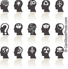 pensando, cabeças, ícones
