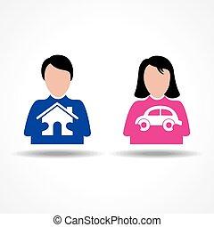 &, pensando, car, femininas, lar, macho