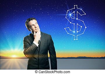 pensando, confiante, aproximadamente, dinheiro, homem negócios